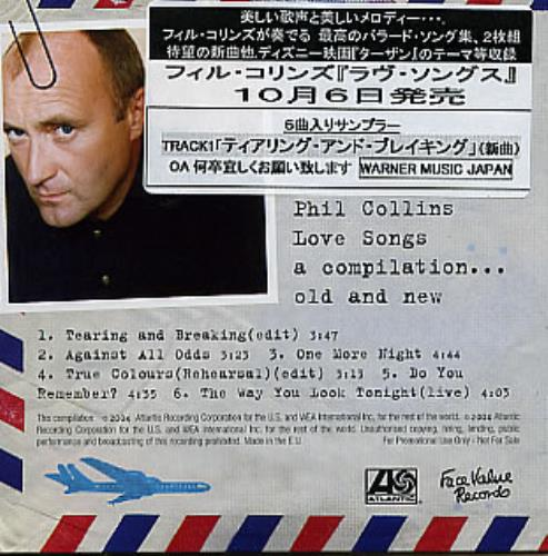 """Phil Collins Love Songs A Compilation...Old And New CD single (CD5 / 5"""") European COLC5LO309827"""