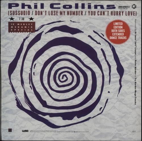 """Phil Collins Sussudio Medley 12"""" vinyl single (12 inch record / Maxi-single) German COL12SU33877"""