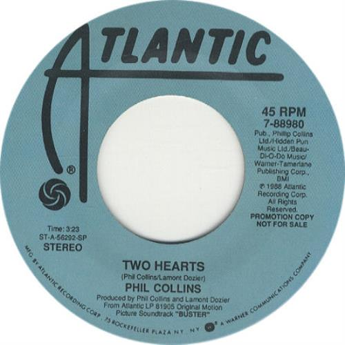 """Phil Collins Two Hearts 7"""" vinyl single (7 inch record) US COL07TW279169"""