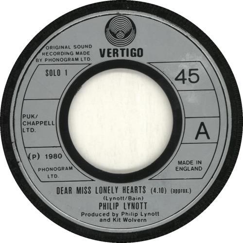 """Phil Lynott Dear Miss Lonely Hearts - Wide 7"""" vinyl single (7 inch record) UK LYN07DE692596"""