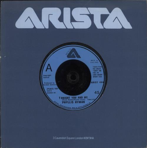 "Phyllis Hyman Tonight You And Me 7"" vinyl single (7 inch record) UK PQH07TO737386"