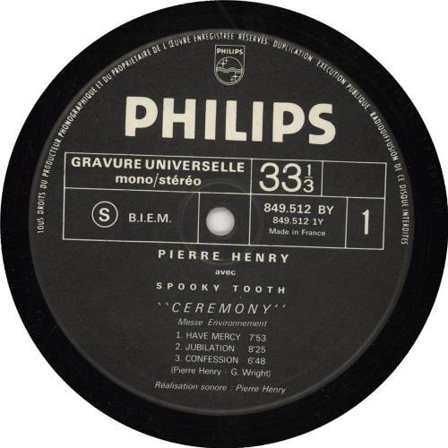 Pierre Henry & Spooky Tooth Ceremony (Messe Environnement) vinyl LP album (LP record) French P1HLPCE234853