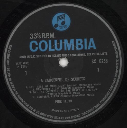 Pink Floyd A Saucerful Of Secrets - 1st - Misprinted Label - VG+/EX Vinyl vinyl LP album (LP record) UK PINLPAS738997