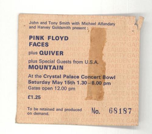 Pink Floyd Garden Party concert ticket UK PINTIGA712730