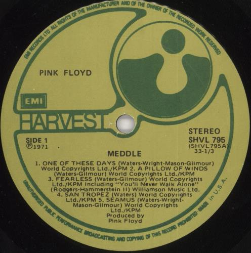 Pink Floyd Meddle - 3rd - Made In USA - VG vinyl LP album (LP record) UK PINLPME724776