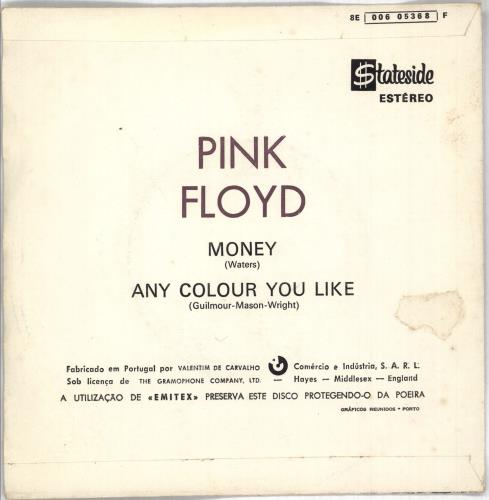 "Pink Floyd Money 7"" vinyl single (7 inch record) Portugese PIN07MO727726"