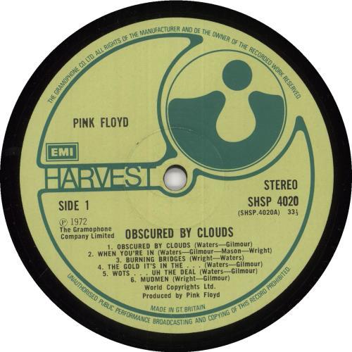 Pink Floyd Obscured By Clouds - 1st (A) - EX vinyl LP album (LP record) UK PINLPOB713102