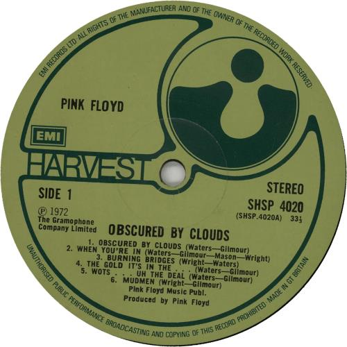 Pink Floyd Obscured By Clouds - 3rd vinyl LP album (LP record) UK PINLPOB105259