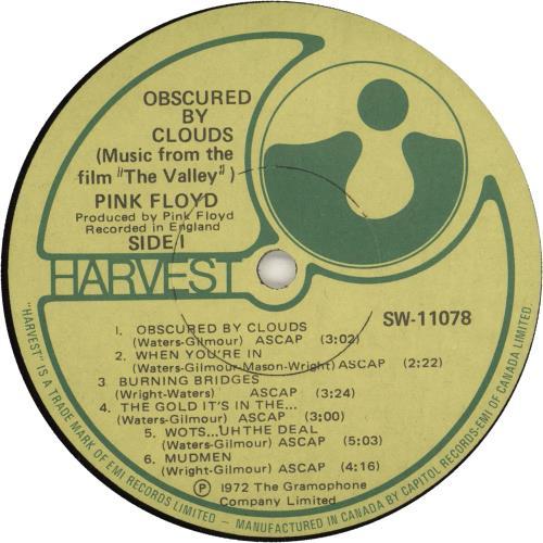 Pink Floyd Obscured By Clouds - EX vinyl LP album (LP record) Canadian PINLPOB743053