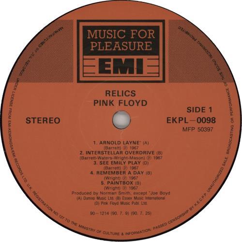 Pink Floyd Relics vinyl LP album (LP record) Korean PINLPRE666990