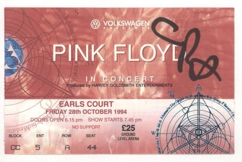 Pink Floyd The Division Bell - European Tour 94 + Signed Ticket Stub tour programme UK PINTRTH721475