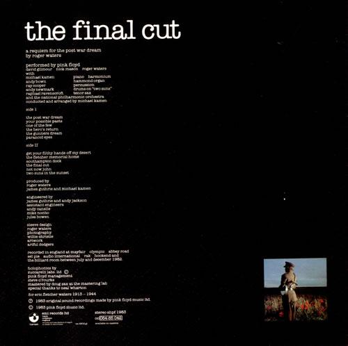 Pink Floyd The Final Cut - 2nd - Stickered vinyl LP album (LP record) UK PINLPTH518611