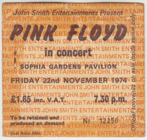 Pink Floyd The Pink Floyd + Ticket tour programme UK PINTRTH579316