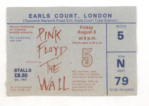 Pink Floyd The Wall Performed Live - White Wall Cover + Stub & Cuttings tour programme UK PINTRTH721480