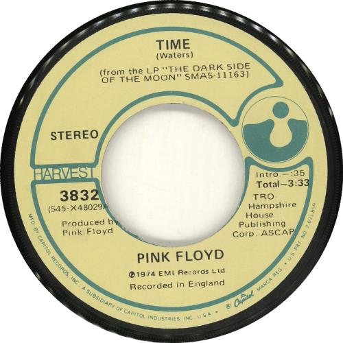 "Pink Floyd Time - Plain Sleeve 7"" vinyl single (7 inch record) US PIN07TI712940"