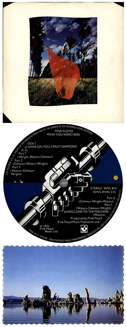 Pink Floyd Wish You Were Here - 1st + postcard UK vinyl LP album (LP
