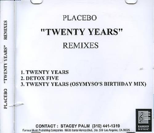 Placebo Twenty Years - Remixes CD-R acetate US CEBCRTW311018