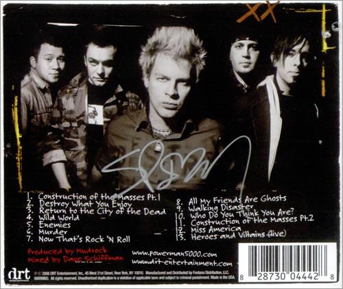 Powerman 5000 Destroy What You Enjoy - Autographed CD album (CDLP) US P50CDDE519828