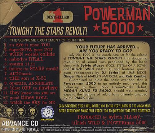 Powerman 5000 Tonight The Stars Revolt! CD album (CDLP) US P50CDTO373918