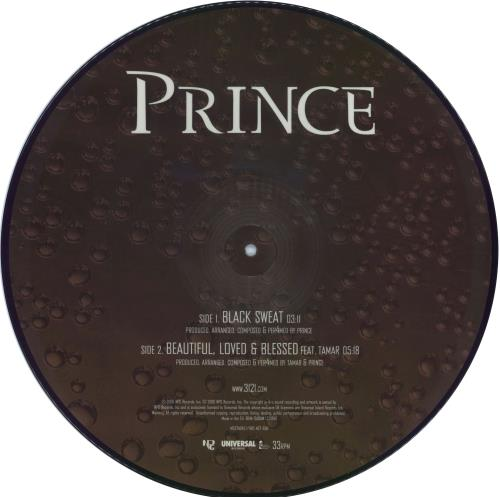 "Prince Black Sweat / Beautiful Loved & Blessed 12"" vinyl picture disc 12inch picture disc record UK PRI2PBL353452"