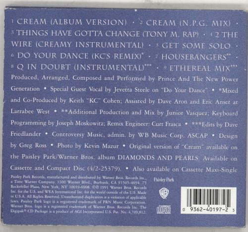 "Prince Cream Remixes - EX CD single (CD5 / 5"") US PRIC5CR707134"