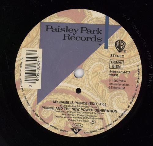 "Prince My Name Is Prince 7"" vinyl single (7 inch record) German PRI07MY774236"