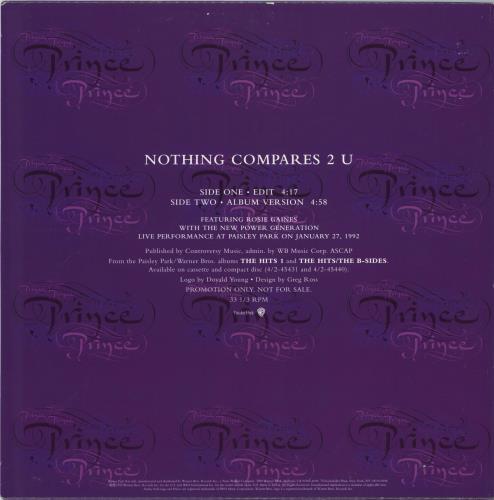 """Prince Nothing Compares 2 U 12"""" vinyl single (12 inch record / Maxi-single) US PRI12NO23689"""