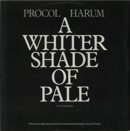 "Procol Harum A Whiter Shade Of Pale - Sample 12"" vinyl single (12 inch record / Maxi-single) UK PRH12AW57987"