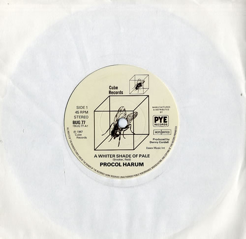 """Procol Harum A Whiter Shade Of Pale - Solid 7"""" vinyl single (7 inch record) UK PRH07AW115993"""