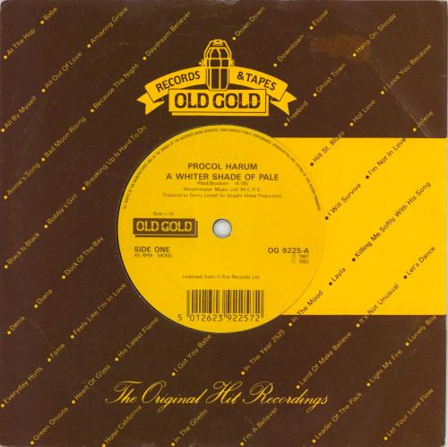 "Procol Harum A Whiter Shade Of Pale 7"" vinyl single (7 inch record) UK PRH07AW767286"