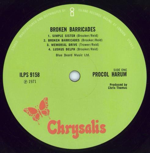 Procol Harum Broken Barricades - 1st - EX vinyl LP album (LP record) UK PRHLPBR765013