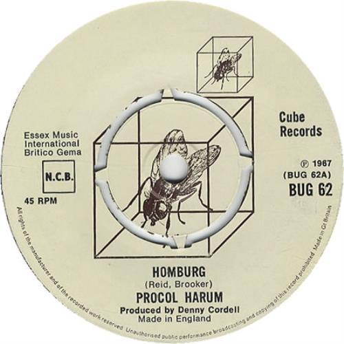 """Procol Harum Homburg 7"""" vinyl single (7 inch record) UK PRH07HO408458"""