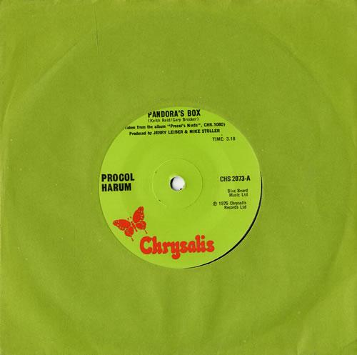 "Procol Harum Pandora's Box - Solid 7"" vinyl single (7 inch record) UK PRH07PA270013"