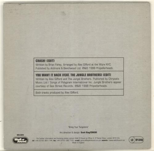 "Propellerheads Crash! 7"" vinyl single (7 inch record) UK P-H07CR704787"