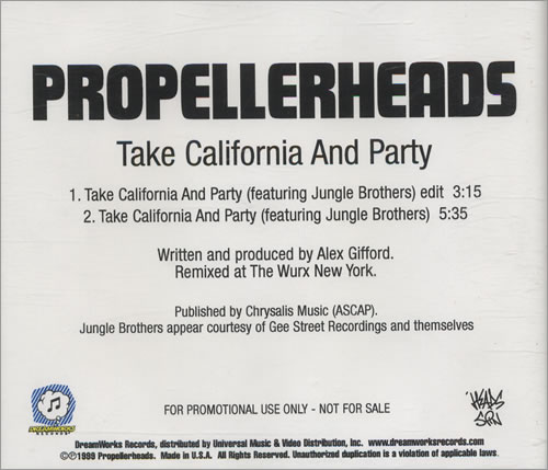 Propellerheads Take California And Party CD-R acetate US P-HCRTA446376