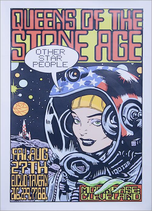 queens of the stone age tour poster cleveland ohio 1999 us limited edition 35 x 22 concert poster produced for the bands show at the the euclid