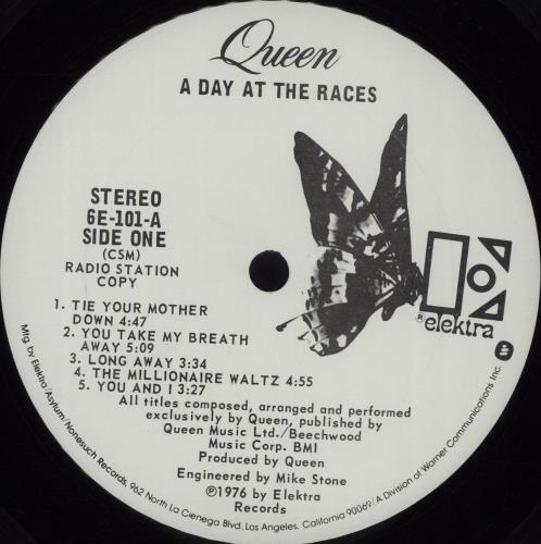 Queen A Day At The Races vinyl LP album (LP record) US QUELPAD31981