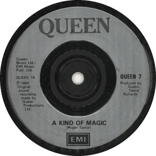 """Queen A Kind Of Magic - Injection Labels 7"""" vinyl single (7 inch record) UK QUE07AK693374"""