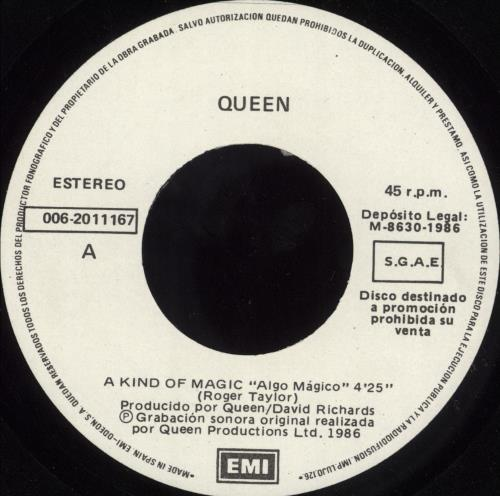 "Queen Algo Magico 7"" vinyl single (7 inch record) Spanish QUE07AL727413"