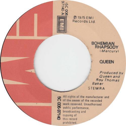 "Queen Bohemian Rhapsody - white titles 7"" vinyl single (7 inch record) Dutch QUE07BO09082"