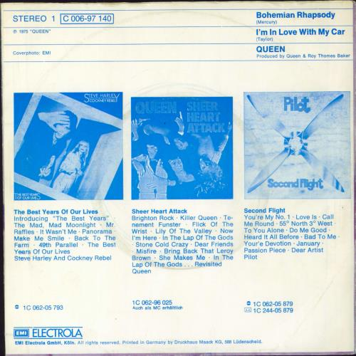 "Queen Bohemian Rhapsody 7"" vinyl single (7 inch record) German QUE07BO132478"