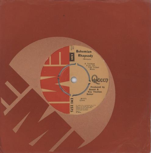 "Queen Bohemian Rhapsody 7"" vinyl single (7 inch record) UK QUE07BO51805"