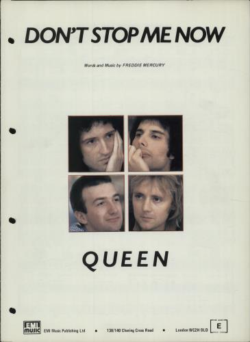 Queen Don't Stop Me Now sheet music UK QUESMDO174475