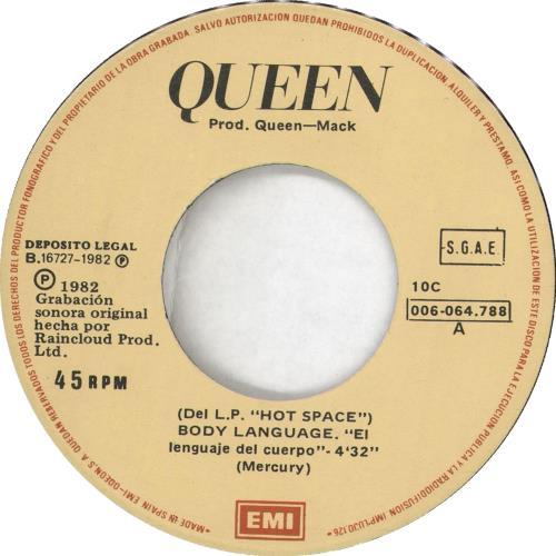 """Queen El Languaje Del Cuerpo 7"""" vinyl single (7 inch record) Spanish QUE07EL719188"""