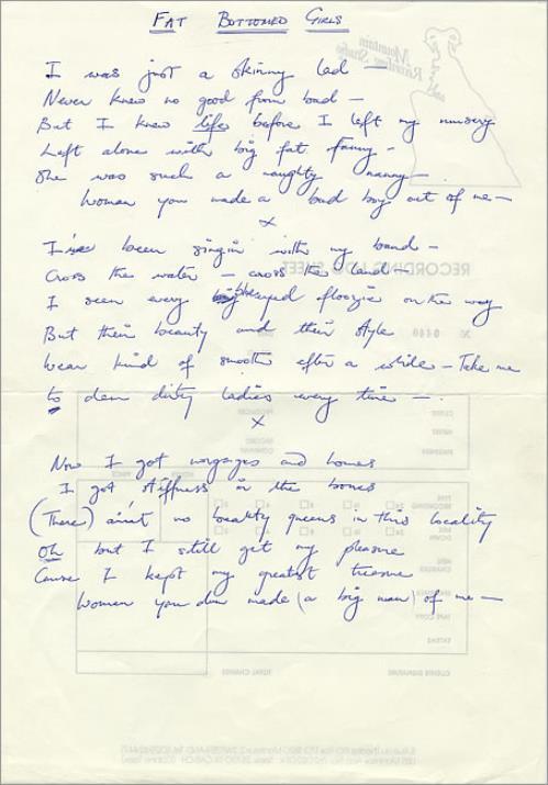 Queen Fat Bottomed Girls - Handwritten Lyrics memorabilia UK QUEMMFA469058