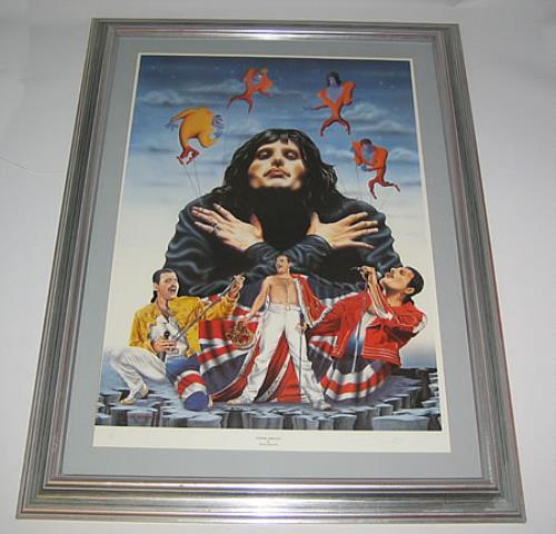 Queen Freddie Mercury Uk Promo Memorabilia 344576 Framed