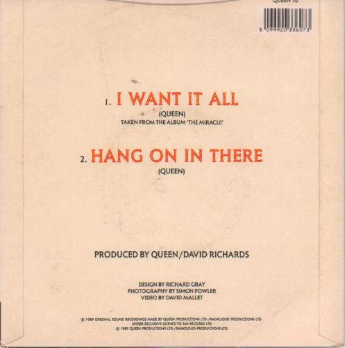 """Queen I Want It All - Inj 7"""" vinyl single (7 inch record) UK QUE07IW650373"""