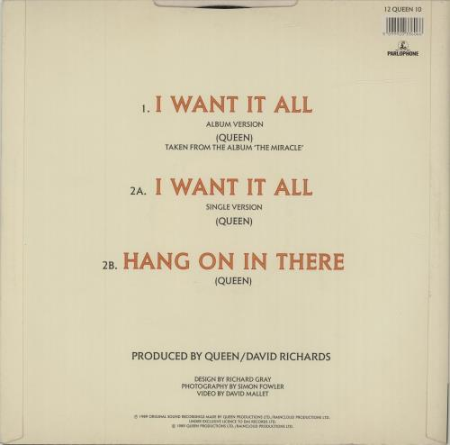 """Queen I Want It All 12"""" vinyl single (12 inch record / Maxi-single) UK QUE12IW22042"""