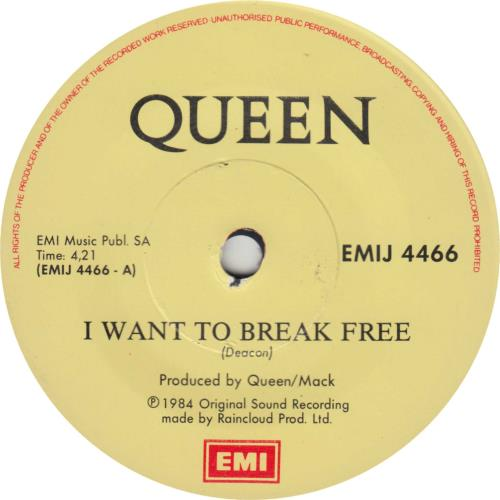 "Queen I Want To Break Free - Freddie Sleeve - Solid 7"" vinyl single (7 inch record) South African QUE07IW716235"