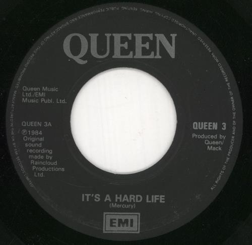 """Queen It's A Hard Life - wide centre 7"""" vinyl single (7 inch record) UK QUE07IT744028"""